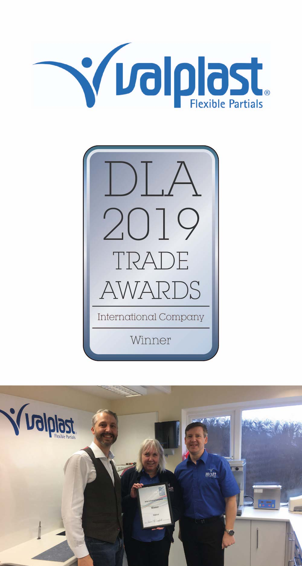 """""""As a company RDT Technology - Valplast are proud to be recognised internationally for all their hard work and support that they offer their customers. Thank you to everyone who voted for us."""""""